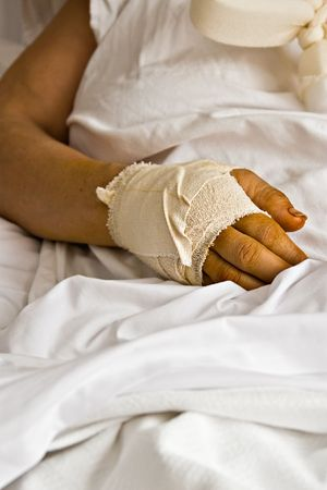 cut wrist: Healthcare wounded hand, bandages, woman in the hospital, health series Stock Photo