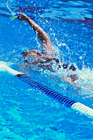 competitive: Swimmer full effort  in the sports competition pool