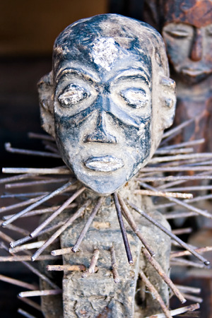 Vintage African art on sale in the flee market, art series photo