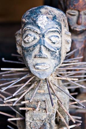 Vintage African art on sale in the flee market, art series photo