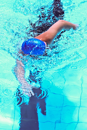 Swimmer in the sports competition pool