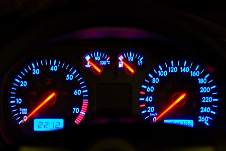 vehicle, gages, neon look blue and red, auto series photo