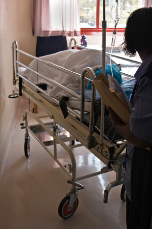 infirmary: Healthcare personnel carry one patient, medical series
