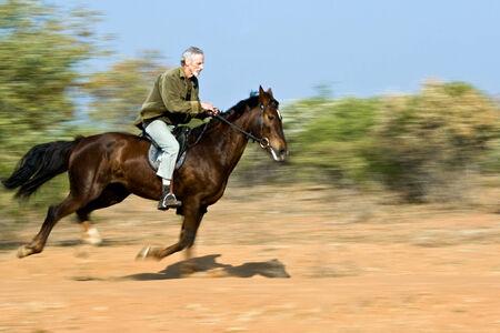 panning shot: Senior man riding the horse in the bush, panning shot.