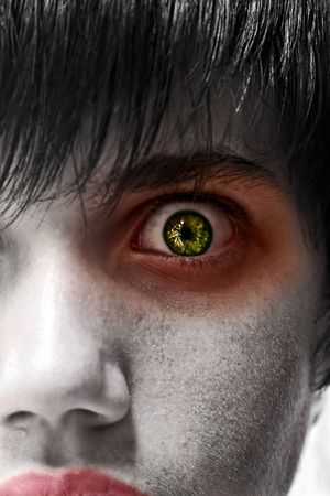 Astonished young man, gothic zombie look, people diversity photo