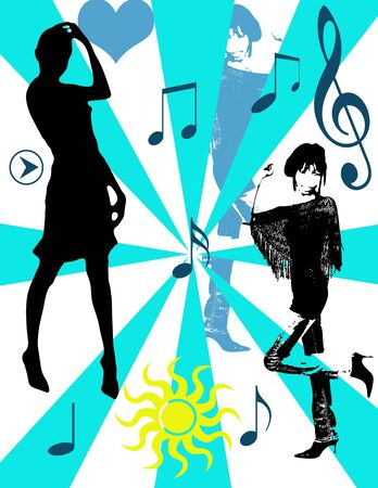 Girls dancing and musical notes, pop art background photo