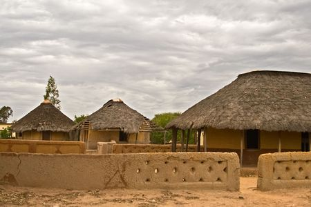 rural development: Poverty face of a real African village, Kalahari area, no what is presented in the tourist tours