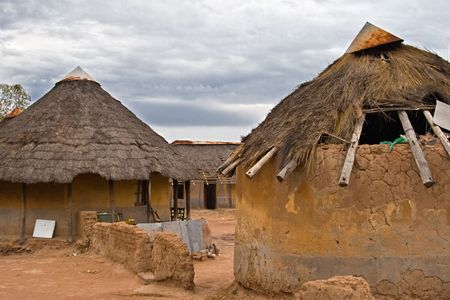 deprivation: Poverty face of a real African village, Kalahari area, no what is presented in the tourist tours