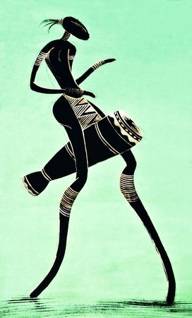 ancient tradition: African art tribal, painted on textile material, man with drum Stock Photo
