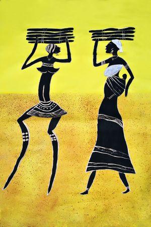繊維原料、母親と子供を運ぶ木で塗られるアフリカの芸術の部族