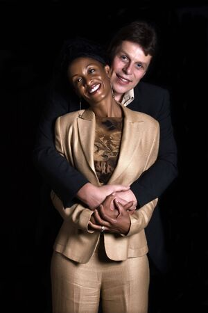 Caucasian man and African American woman couple portrait mixed race photo