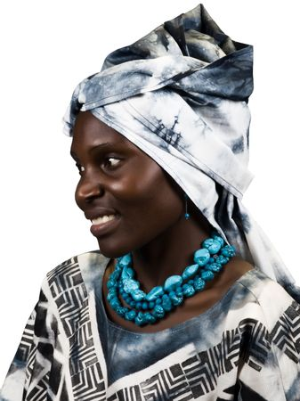 Young woman Zimbabwe, wearing different traditional African clothing photo