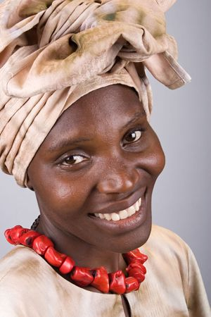 Young woman Zimbabwe, wearing different traditional African clothing