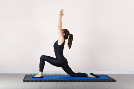 germanic: Monkey poses position. Pilates gymnastics is a Germanic evolution of yoga, used by athletes to improve flexibility and body fitness and by chiropractors for patient recovery.
