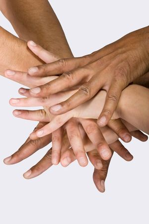 Background pile of hands, Caucasian, African American, Hispanic race. Stock Photo