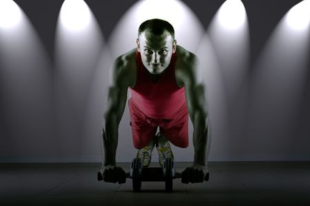cardiovascular workout: Push up with exercise wheel dramatization, classic endurance workout for biceps