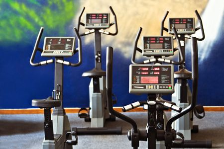 static bike: Fitness centre spinning studio, health centre
