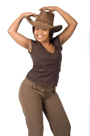 Young African woman casual dressed with cowboy hat photo