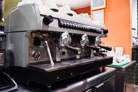 beverage display: Professional espresso machine in a coffee shop Stock Photo