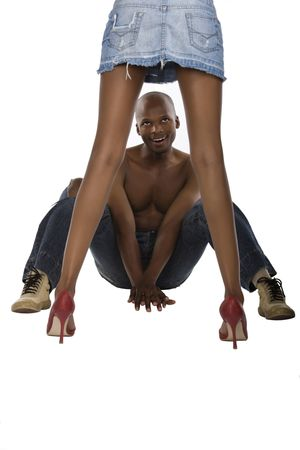 peeping: African American peeping up skirt, typical men, sometimes is worth a look