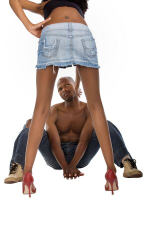 scandalous: African American peeping up skirt, typical men, girl slapping him