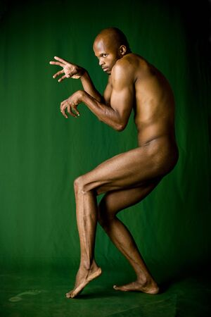 naked african: Human predator concept, social issues, more dramatic lightening version