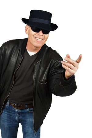 Senior citizen with leather jacket and fancy hat gangster style photo