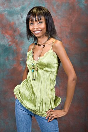 African American young girl portrait, casual dressed photo