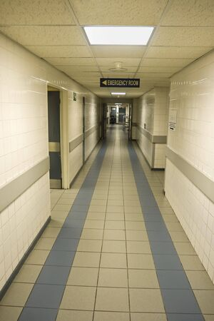 exit: Empty hospital corridor, entrance to the emergency room Stock Photo