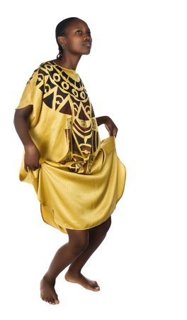 Young African woman traditional dress, dancing