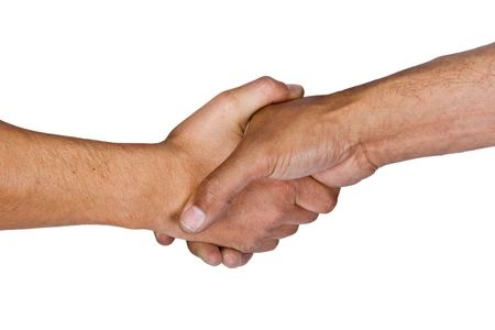 hairy arms: Two man shaking hands Stock Photo