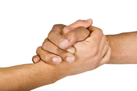 handclasp: Two man shaking hands more intimate gesture, camaraderie  Stock Photo