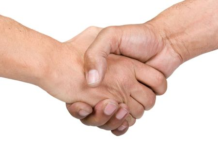 hairy arms: Two man shaking hands, isolated on white