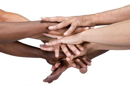 comrade: pile of hands isolated on white, Caucasian, African American, Hispanic race.