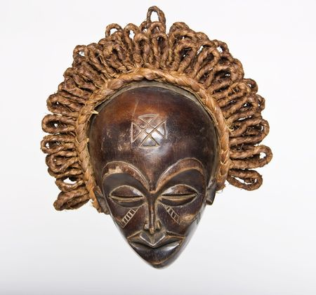 Collection of vintage African masks different styles South Africa, Congo, Chad, Kenya, Uganda, photo