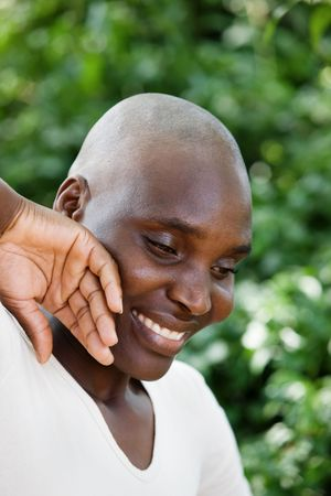 Bald and beautiful typical African woman. photo