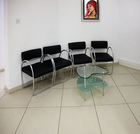 previously: Waiting room generic, initially on some medical practice, picture on the wall previously accepted Stock Photo
