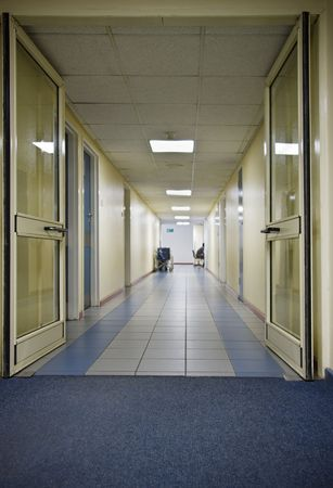 empty  hospital hallway, healthcare series photo