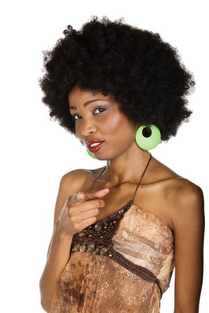 African American girl with afro hairstyle, you are the one mimic concept photo