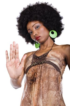 African American woman miming to somebody to stop Stock Photo - 2825468