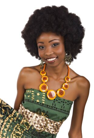 African woman with a dress in traditional African pattern