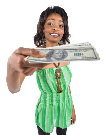 Happy African american woman handing money out Stock Photo