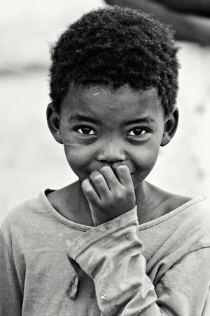 poor african: African children, social issues, poverty, black and white version