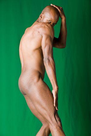 desnudo artistico: Muscular African American hombre forma y la forma  Foto de archivo