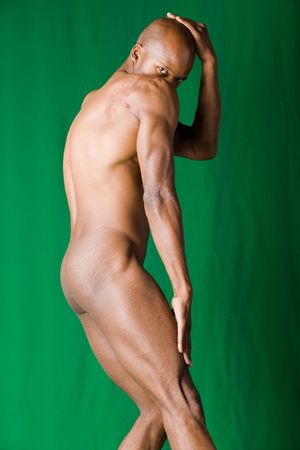 nude art model: Muscular  African american man form and shape