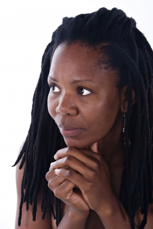 dreadlocks: portrait of sad Rastafarian  girl with dreadlocks