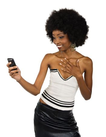 calling communication: African American woman formal dressed looking at the cell phone