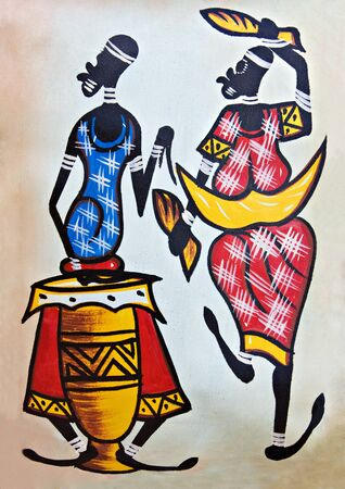 djembe: African traditional painting representing a man with a drum and a dancer