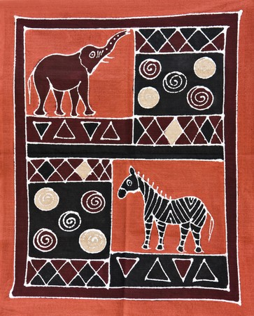 African motifs painted on textile, from the craft market Botswana, unfortunately this item is mass production for tourists.