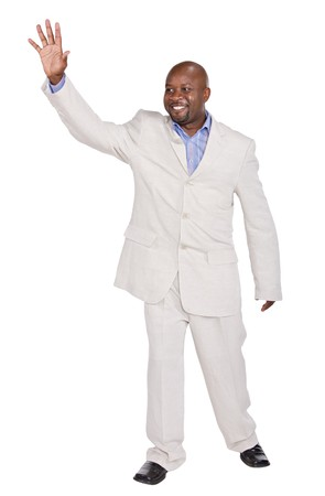 farewell: happy african american businessman saying goodbye